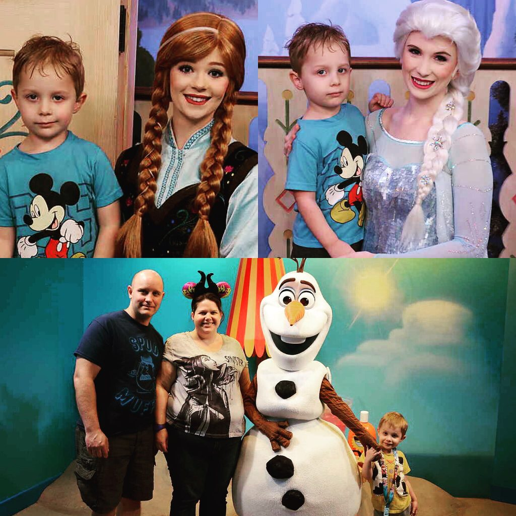 Harrison with Anna and Elsa at Epcot. The whole family with Olaf at Hollywood Studios.