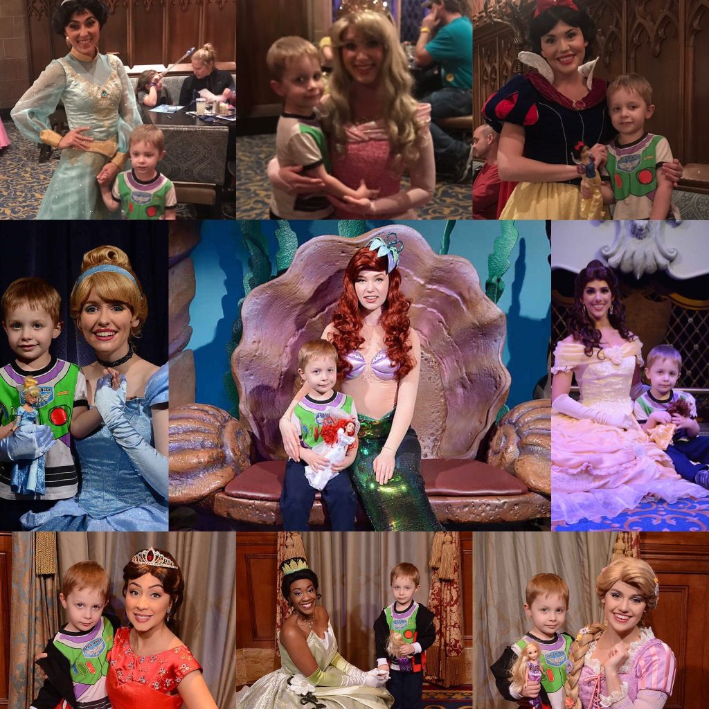 My son with all 9 Magic Kingdom princesses.