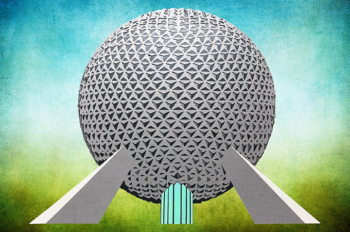 Image of paper art Spaceship Earth.