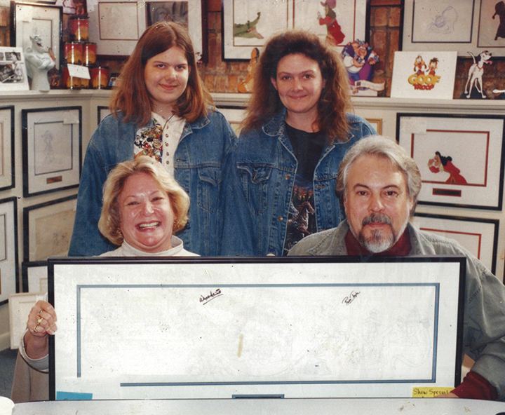Mom mom and me meeting Russi Taylor (Minnie Mouse) and Wayne Allwine (Mickey Mouse) in the 1990's at an animation art gallery.
