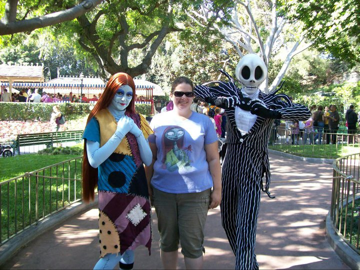 Jack Skellington, Sally Stitches and me at Disneyland.