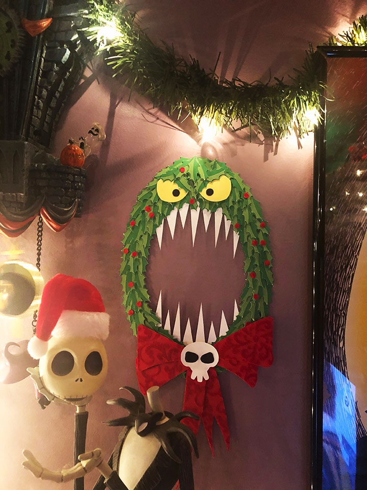 Nightmare Before Christmas wreath display